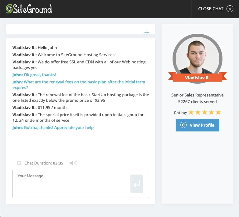 SiteGround Live Chat Support